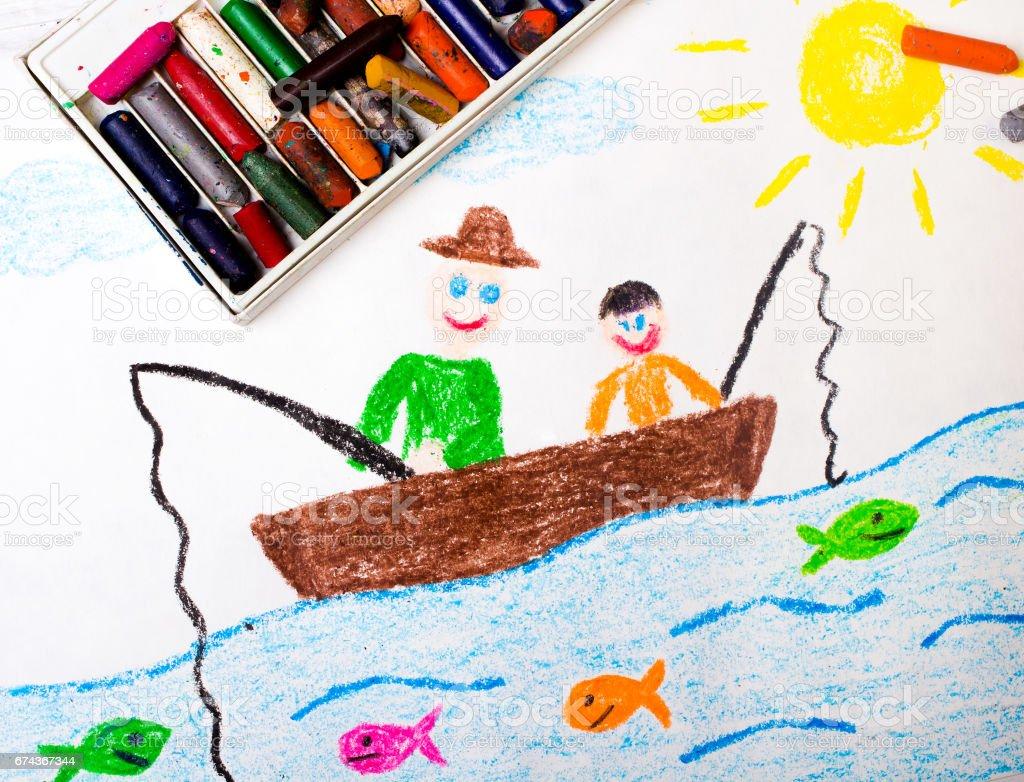 Foto De Colorido Desenho Pai E Filho Pescar E Mais Fotos De Stock