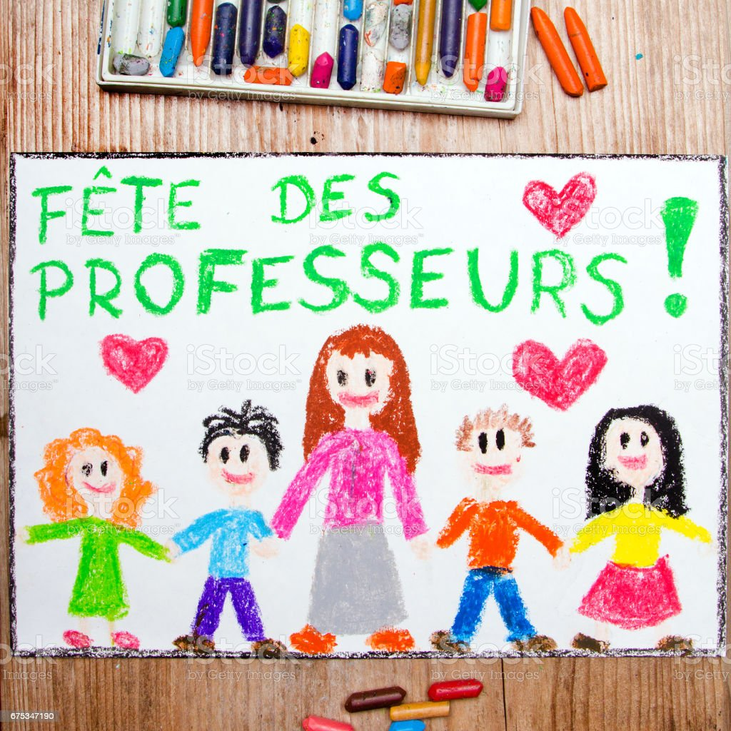 Colorful Drawing France Teachers Day Card With Words Fete Des Professeurs Stock Photo Download Image Now Istock