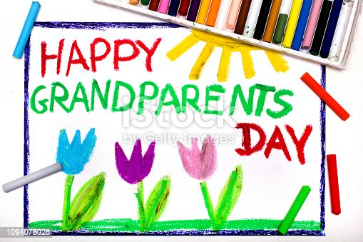 istock Colorful drawing: Grandparents Day card with tulip 1094078028