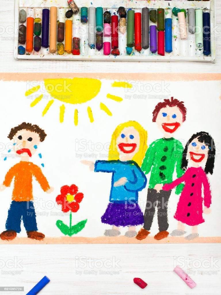 Colorful Drawing Group Of Children Laughing At A Crying Boy School Violence Royalty