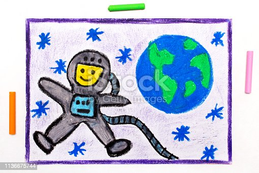 istock Colorful drawing: Happy astronaut in spacesuit flying next to the planet earth 1136675744