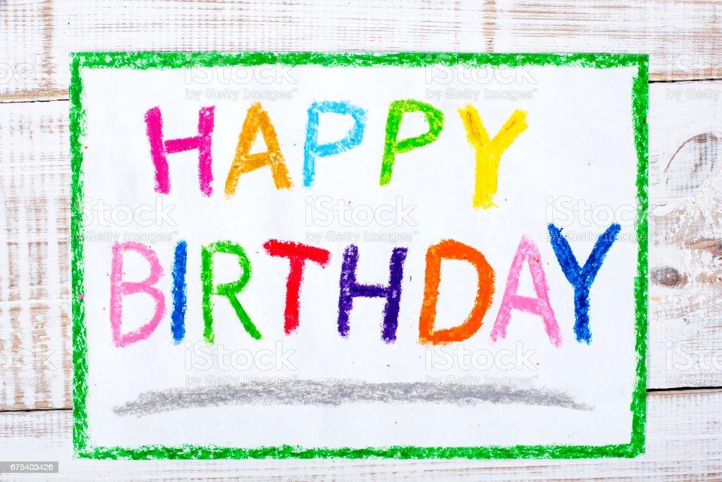Colorful Drawing Happy Birthday Card Lizenzfreies Stock Foto