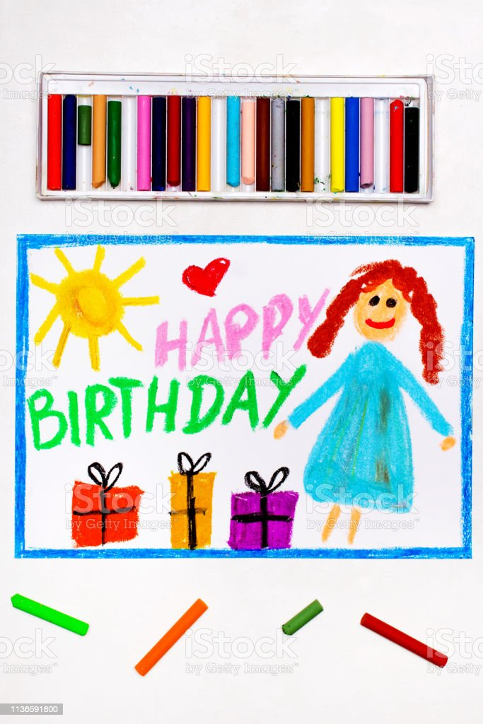Tremendous Colorful Drawing Happy Birthday Card With Smiling Girl Stock Photo Funny Birthday Cards Online Elaedamsfinfo