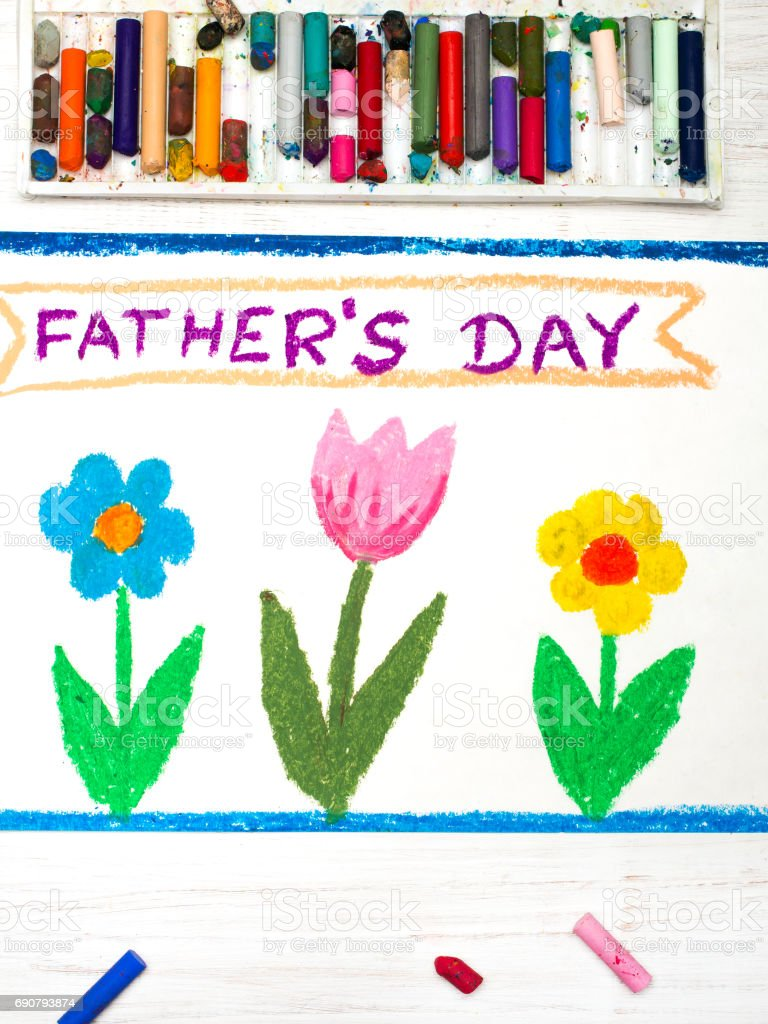 Colorful Drawing Happy Fathers Day Card Made By A Child Stock Photo