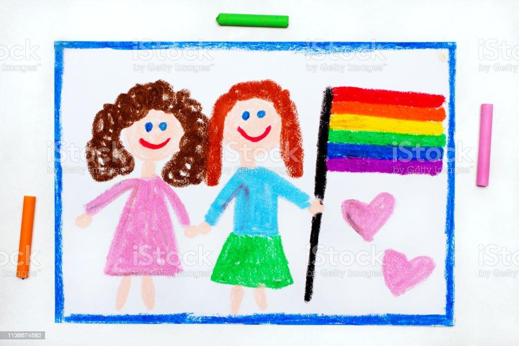Photo Libre De Droit De Dessin Coloré Couple Lesbienne