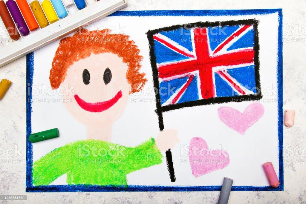 Dibujo Colorido Hombre Feliz Sosteniendo La Bandera Británica