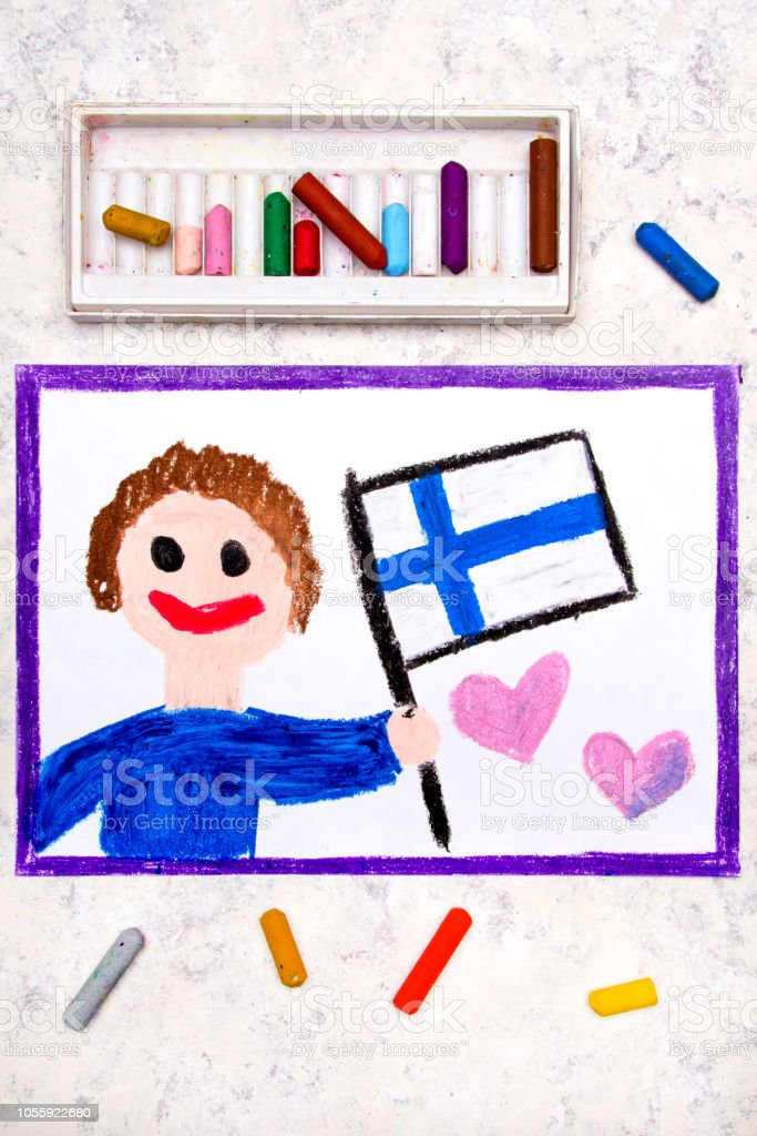 Happy man holding Finnish flag. Flag of Finland and smiling boy