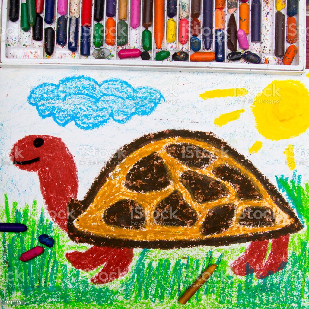 Colorful drawing: happy turtle on the grass royalty-free stock photo