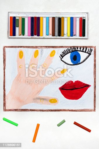 istock Colorful drawing: Human body parts, hand, eye and mouth 1128896151
