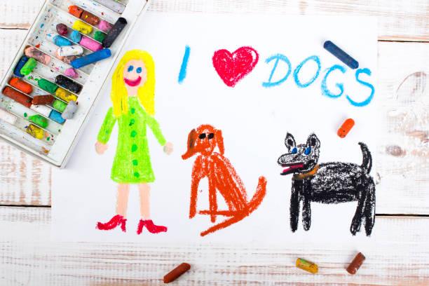 colorful drawing: i love dogs - cachorro desenho - fotografias e filmes do acervo