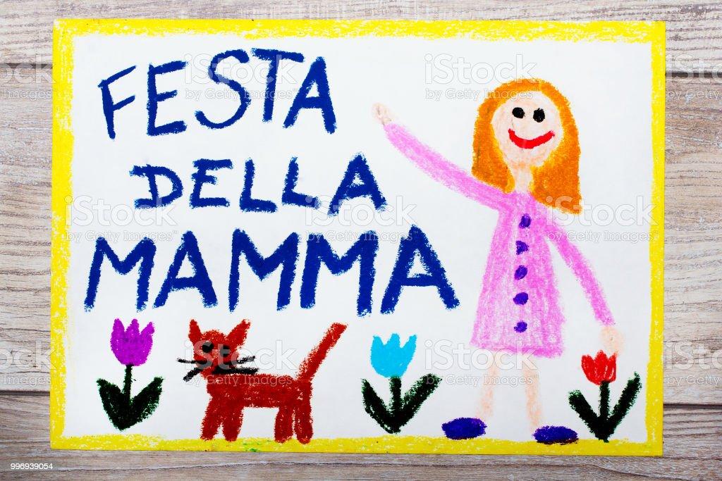 Carte Bonne Fete En Italien.Photo Libre De Droit De Dessin Colore Carte Fete De La Mere Italien