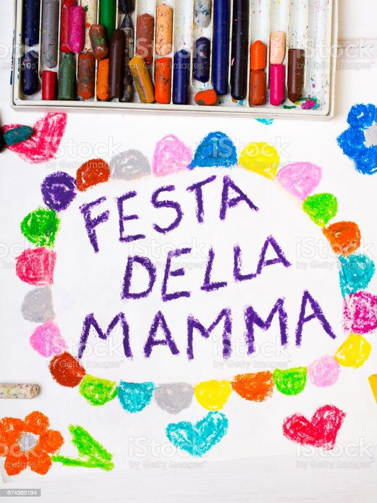 Kleurrijke Tekening Italiaans Mothers Day Card Met Woorden Moederdag