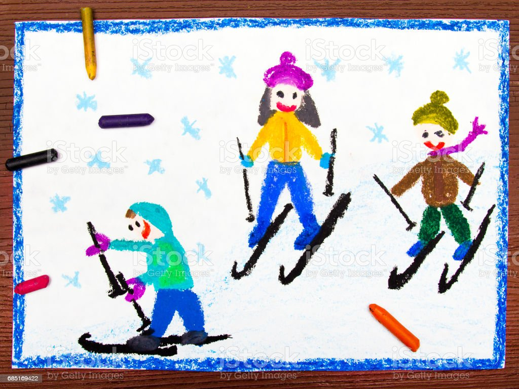 Colorful Drawing Kids Learning To Ski Stock Photo Download Image