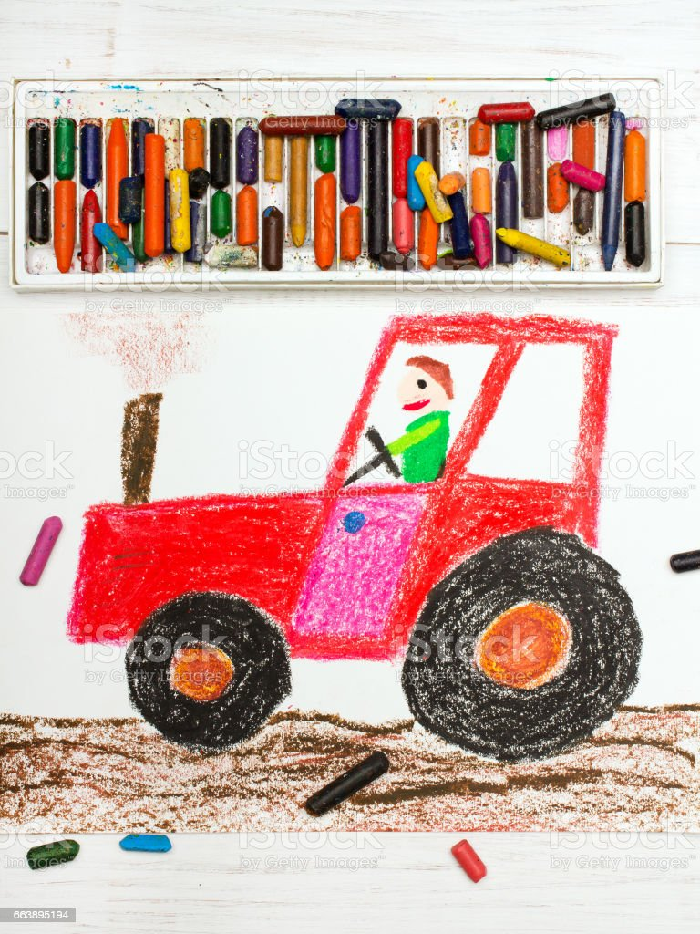 Colorful drawing: man in a red tractor stock photo