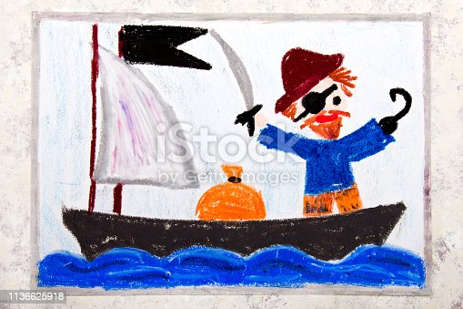 istock Colorful drawing: Old Pirate with a patch over his eye, hook and cap stands on the pirate ship 1136625918