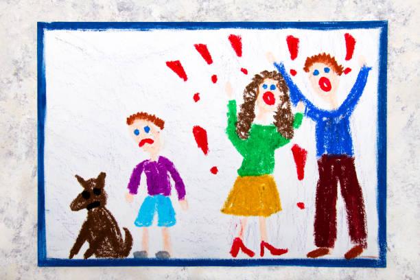 färgglada ritning: gräl föräldrar och deras sorgliga son - animal doodle bildbanksfoton och bilder