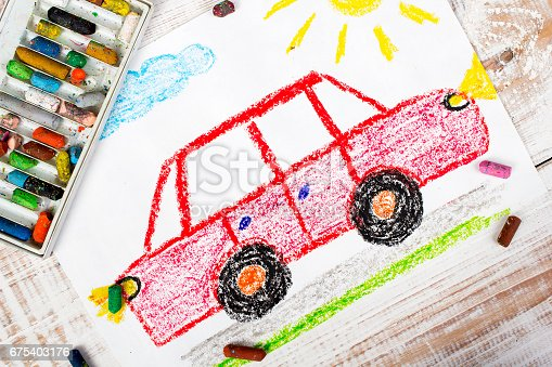 istock colorful drawing: red car 675403176