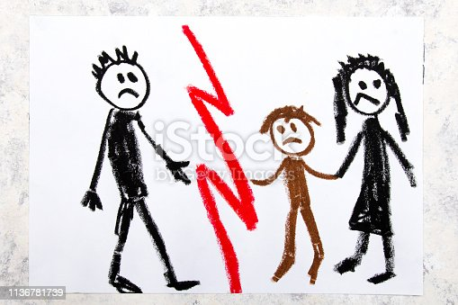1166996797 istock photo Colorful drawing: Representation of marriage break up or divorce. 1136781739