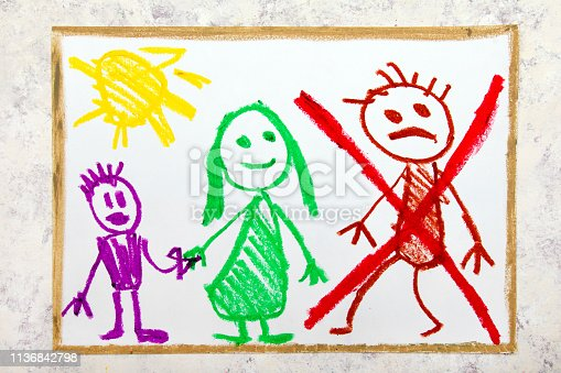1166996797 istock photo Colorful drawing: Representation of marriage break up or divorce. 1136842798