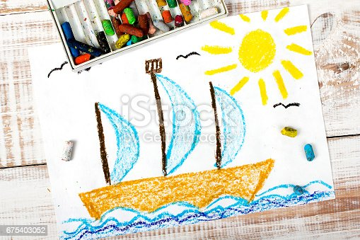 istock colorful drawing: sailing boat in the sea 675403052