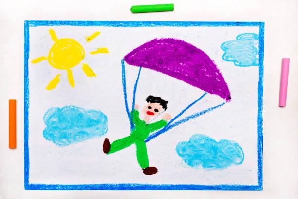 다채로운 그림: 스카이 다이빙. 낙하산 점프 - kids drawing 뉴스 사진 이미지
