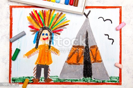 Colorful drawing: Smiling Indian in a headdress stands next to a teepee