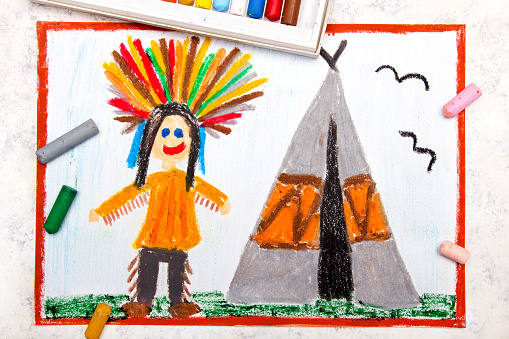 Pair of Teepees by a Fire Pit
