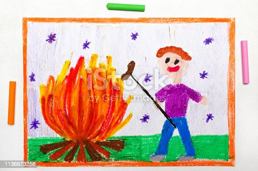 istock Colorful drawing: Smiling man cooking sausages over a campfire 1136673258