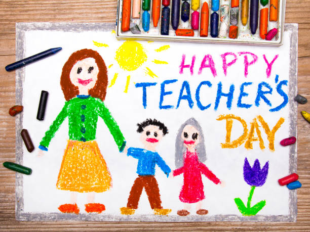 colorful drawing - teacher's day card - teachers day stock photos and pictures