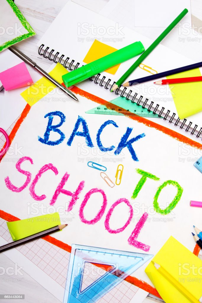 Colorful drawing with words 'back to school' and school accessories stock photo