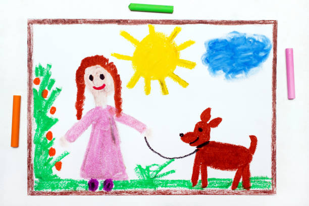 colorful drawing: young girl in pink dress walking dog. - art product stock pictures, royalty-free photos & images