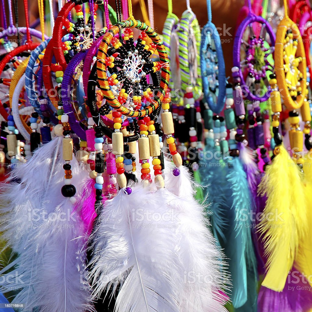 colorful dreamcatchers stock photo
