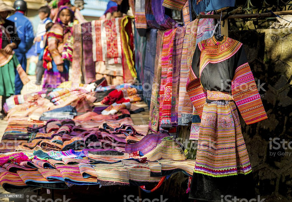 colorful dress in Bac Ha market, Vietnam stock photo