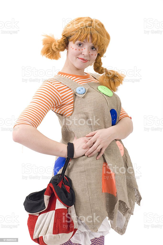 Colorful dressed female with bag III royalty-free stock photo