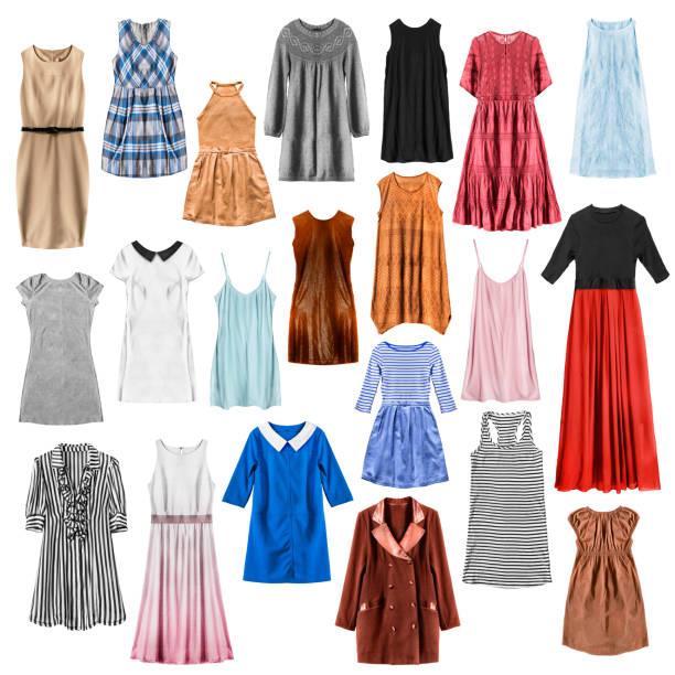 bunte kleider isoliert - lange gestreifte röcke stock-fotos und bilder