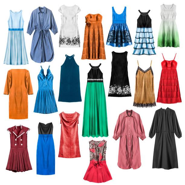 bunte kleider isoliert - spitzen maxi stock-fotos und bilder
