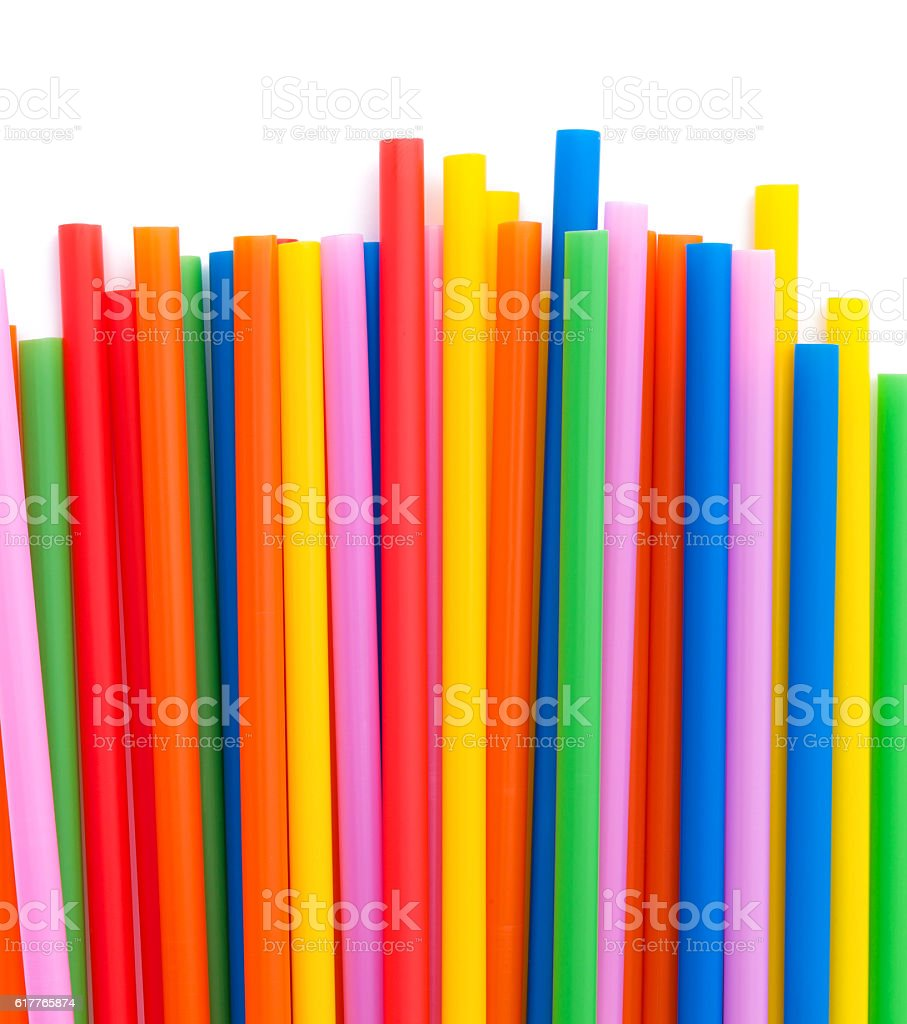 Colorful drinking straw stock photo