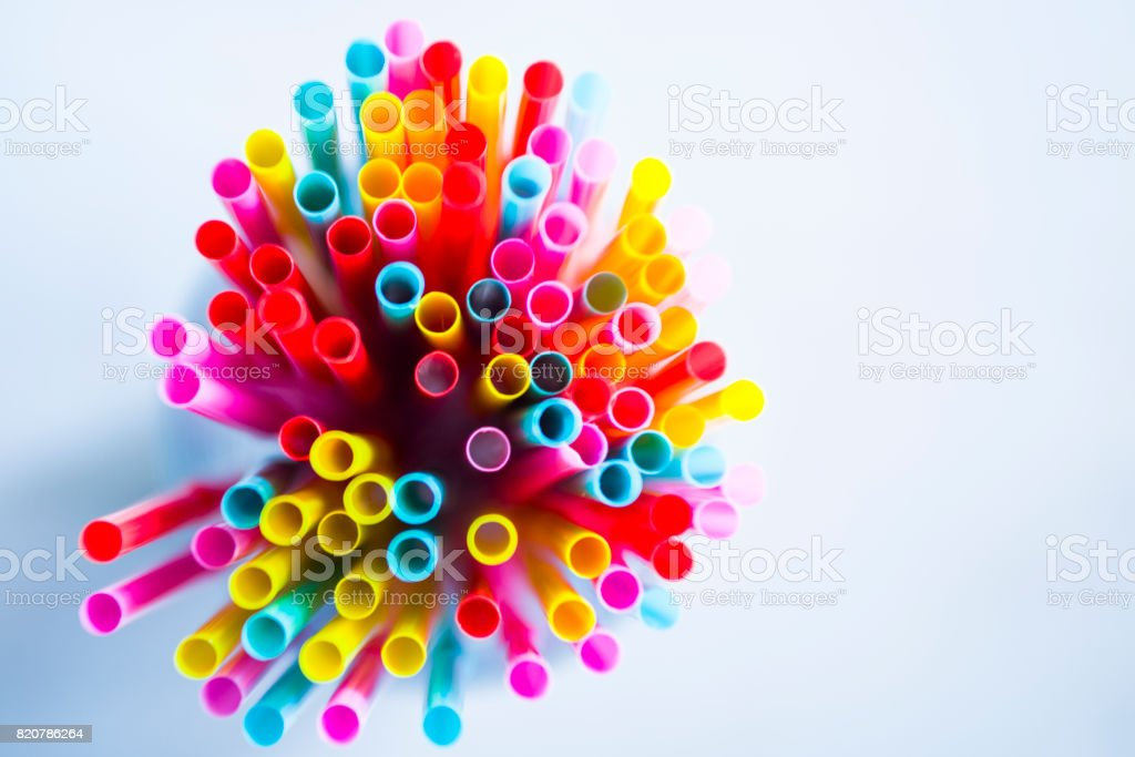 Colorful drinking straws as background stock photo