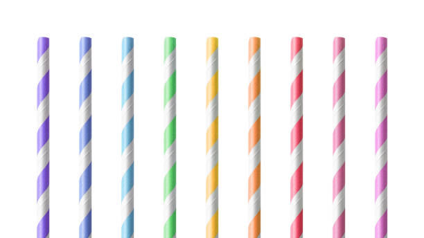Colorful drinking Straws isolated on white background. Drink tube made from paper material. ( Clipping path ) Colorful drinking Straws isolated on white background. Drink tube made from paper material. ( Clipping path ) drinking straw stock pictures, royalty-free photos & images