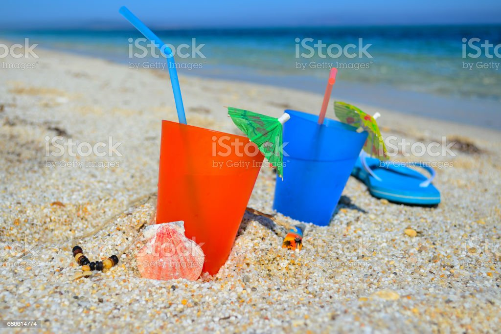 colorful drinks by the sea royalty-free stock photo