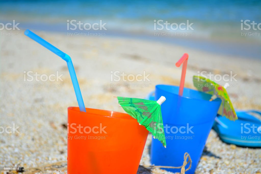 colorful drinks by the shore royalty-free stock photo