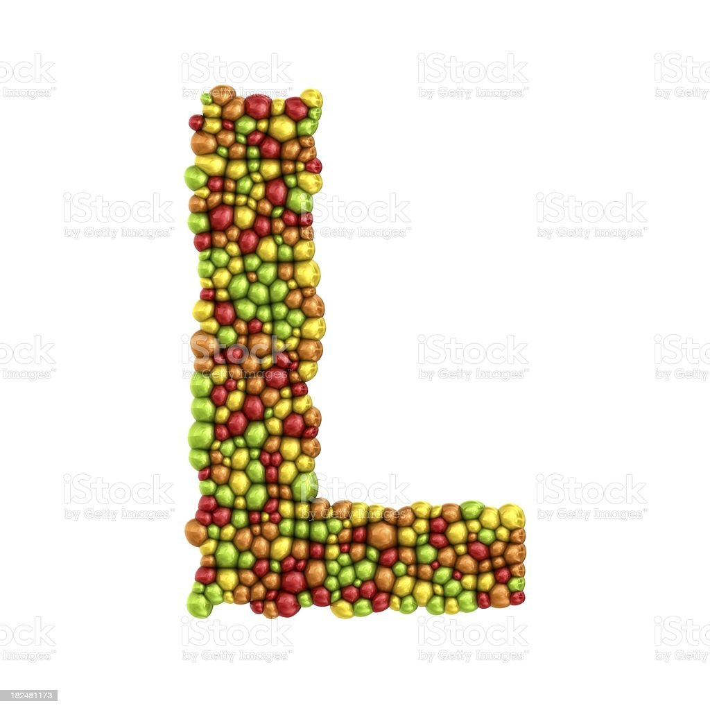 colorful drops letter L royalty-free stock photo