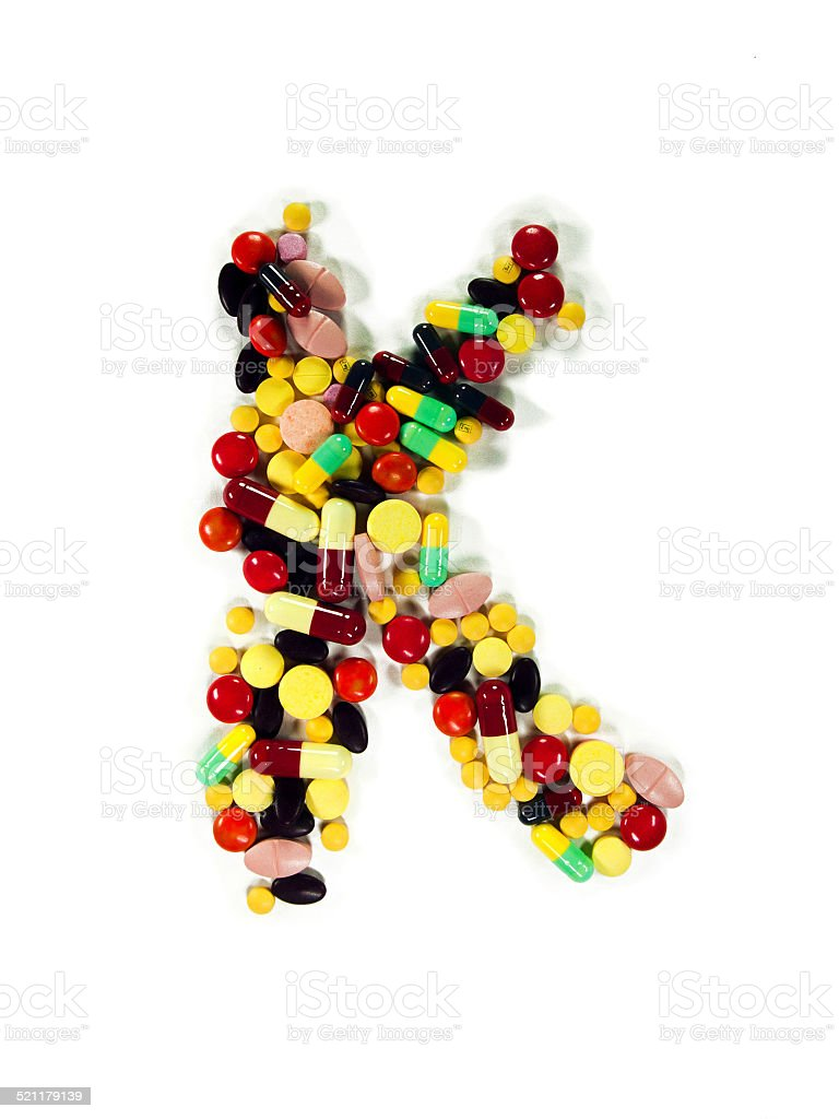 Colorful Drug Alphabet 'K' stock photo