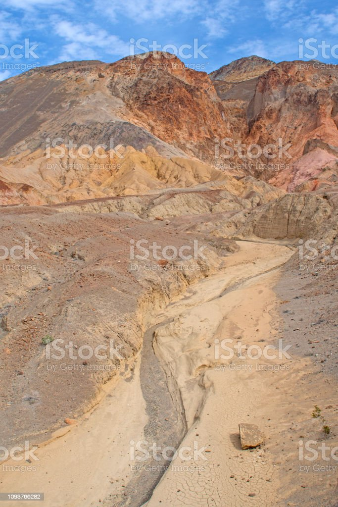 Colorful Dry Wash in the Desert in the Amargosa Range in Death Valley...