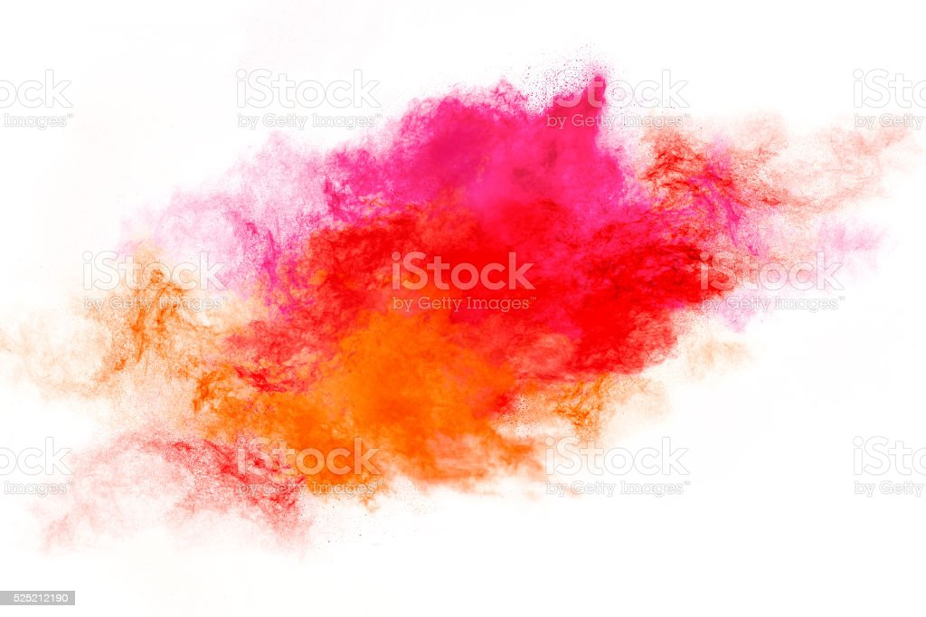 Colorful Dust Particle Explosion Isolated on White stock photo