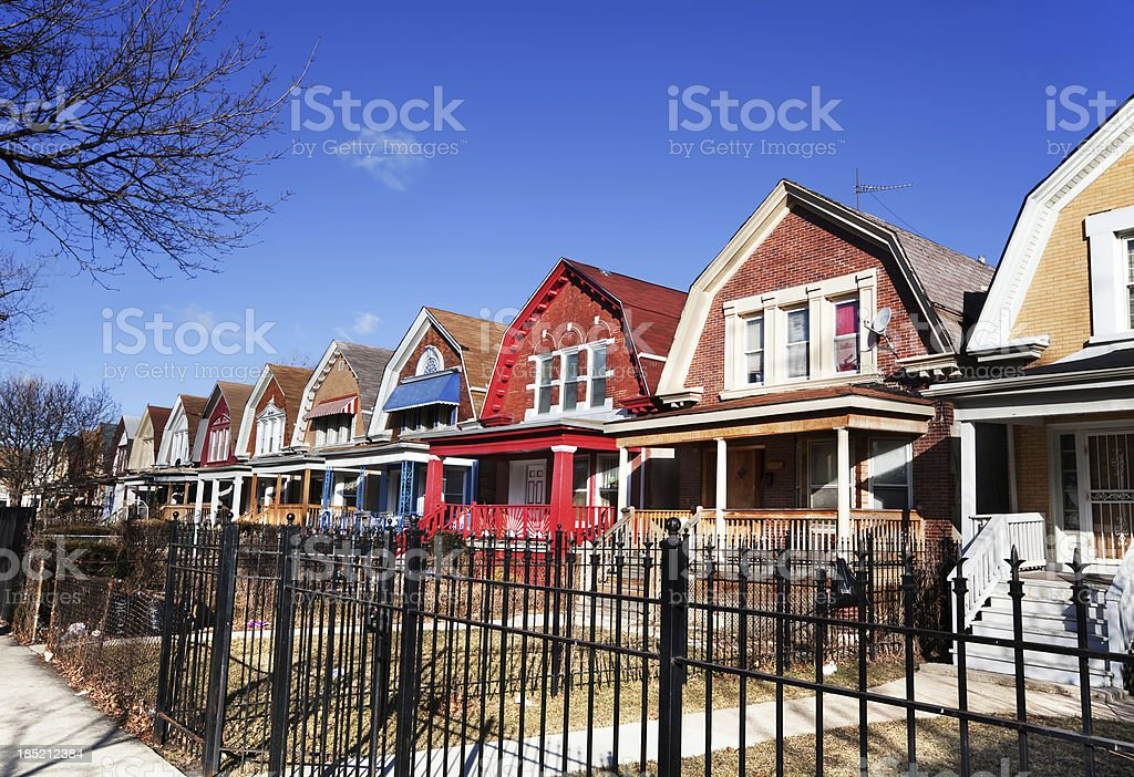 Colorful Dutch Colonial Style houses in Chicago royalty-free stock photo