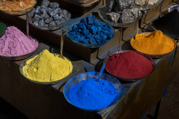 Colorful dye pigments and minerals in the medina of Marrakech, Morocco. stock photo