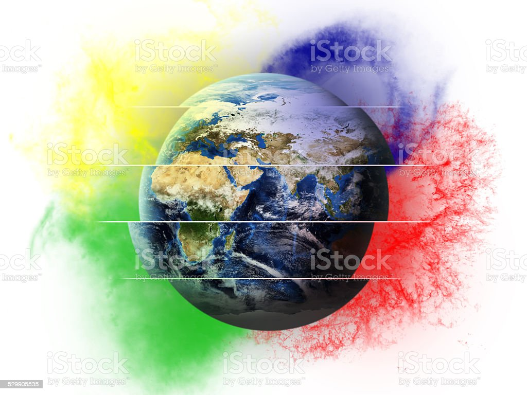 Colorful Earth - World Cut stock photo