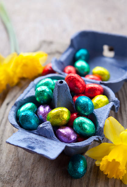 Colorful Easter Chocolate Eggs stock photo