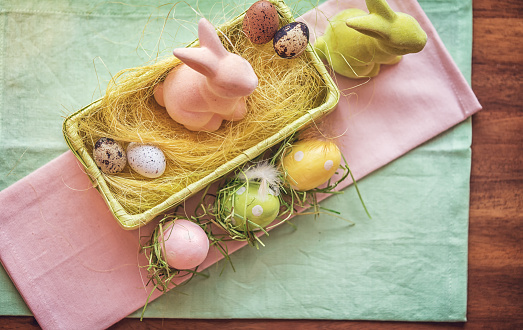 Colorful Easter Decoration with Eggs and Easter Bunnies